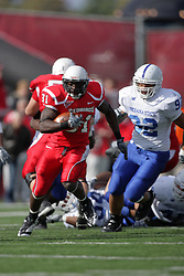 17 October 2009:  Clifton Gordon struts up a lane up the middle after getting past Ben Obaseki. The Indiana State Sycamores tumble to the Illinois State Redbirds 38-21 at Hancock Stadium on campus of Illinois State University in Normal Illinois