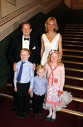 The EARL & COUNTESS OF DERBY with their children LORD STANLEY, the HON.OLIVER STANLEY and the HON.HENRIETTA STANLEY at the NSPCC's Dream Auction held at The Royal Albert Hall, London on 9th May 2006.<br />
