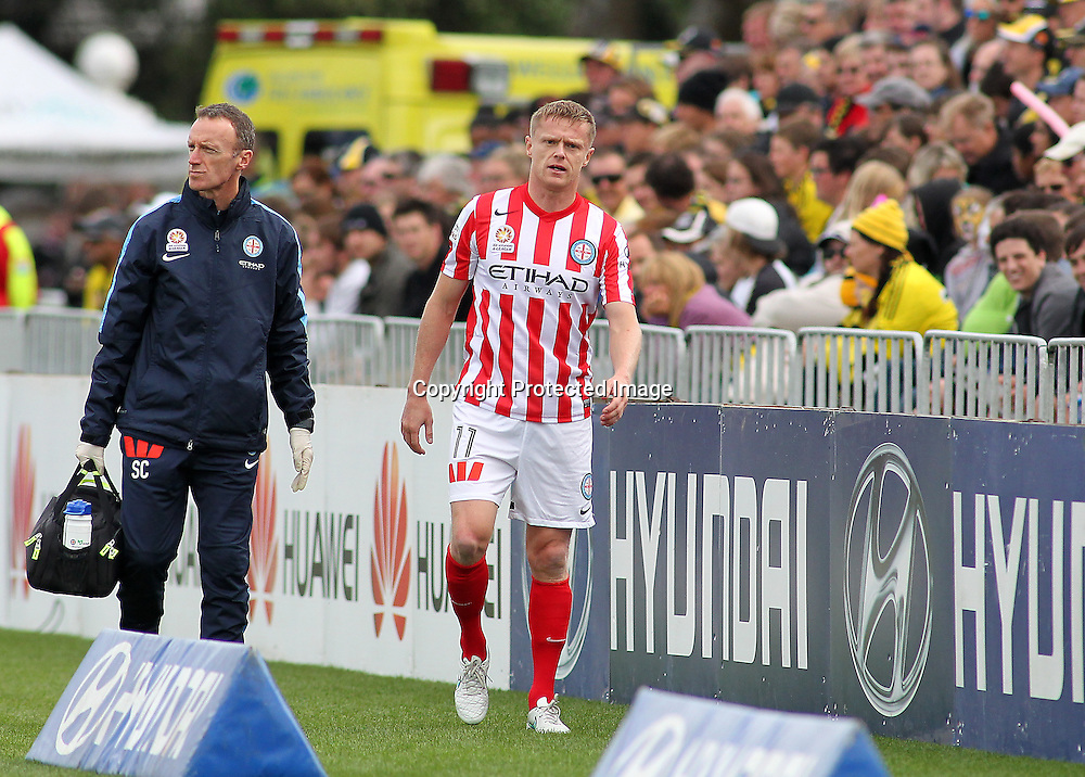 Melbournes' Damien Duff leaves the field injured, early in the A-League football match between the Wellington Phoenix & Melbourne City, at the Hutt Recreational Ground, Wellington, 14 February 2015. Photo.: Grant Down / www.photosport.co.nz