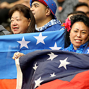 Despite the first game loss, Manu Samoa fans kept the spirit at the Canada 7's, Day 1, BC Place, Vancouver, British Columbia, Canada.  Photo by Barry Markowitz, 3/10/18, 9:30 am