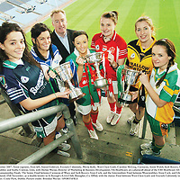 19 November 2007; Team captains, from left, Sinead Goldrick, Foxrock Cabinteely, Maria Kelly, West Clare Gaels, Caroline McGing, Carnacon, Annie Walsh, Inch Rovers, Sile O'Callaghan, Mourneabbey and Kathy Conway, Glen, with Declan Moran, Director of Marketing & Business Development, Vhi Healthcare, at a photocall ahead of the VHI Healthcare All-Ireland Ladies Football Club Championship Finals. The Senior Final between Carnacon of Mayo and Inch Rovers, from Cork, and the Intermediate Final between Mourneabbey, from Cork, and Glen, from Derry, take place this weekend, 25th November, as a double header in St Rynagh's GAA Club, Banagher, Co. Offaly with the Junior Final between West Clare Gaels and Foxrock Cabinteely taking place on Sunday 2nd December. Croke Park, Dublin. Picture credit: Brendan Moran / SPORTSFILE  *** Local Caption ***