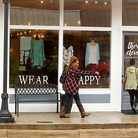 Peggy Grice and Mable Warren, of Baldwyn, walk into the Three Eleven Boutique in downtown Baldwyn on Thursday morning. The city of Baldwyn is introducing monthly Pop Up Market Shops to spur business downtown.