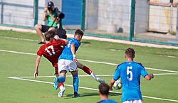 NAPLES, ITALY - Tuesday, September 17, 2019: Liverpool's substitute Layton Stewart scores the equalising goal to level the score 1-1 during the UEFA Youth League Group E match between SSC Napoli and Liverpool FC at Stadio Comunale di Frattamaggiore. The game ended in a 1-1 draw. (Pic by David Rawcliffe/Propaganda)