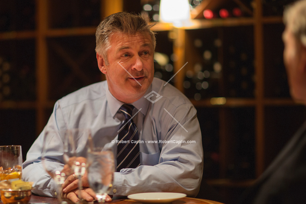 NEW YORK, NY &ndash; OCTOBER 22, 2013: Actor Alec Baldwin has lunch with Dick Cavett at the 20 Club as part of the Table For Three column by Philip Galanes.<br /> <br /> Photo by Robert Caplin