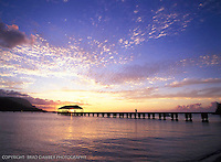 Summer sunset at Hanalei Pier