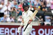 Wicket - Rory Burns of England raises his bat as he walks back to the pavilion after being dismissed by Nathan Lyon of Australia during the International Test Match 2019 match between England and Australia at Edgbaston, Birmingham, United Kingdom on 3 August 2019.