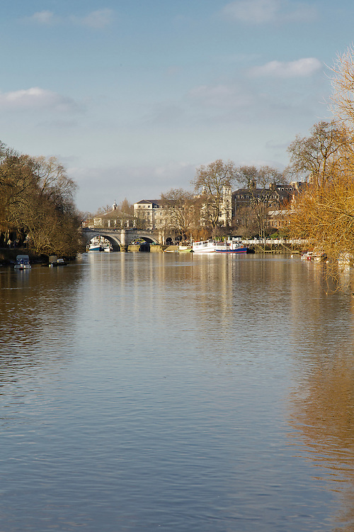 The view towards Richmond Bridge from the River Thames in London.