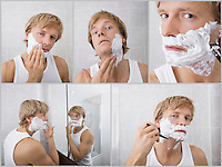 Collage of young man shaving in bathroom