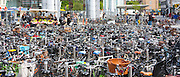 Many hundreds of bicycles at a bike park in Copenhagen on Zealand, Denmark