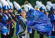 A Neshaminy color guard member performs before the Pennridge at Neshaminy football game Friday, August 30, 2019 at Harry Frank Stadium in Langhorne, Pennsylvania. (WILLIAM THOMAS CAIN/PHOTOJOURNALIST)