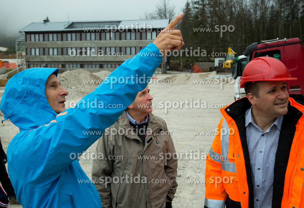 Miran Tepes, ski jumping official, Jelko Gros of Zavod za sport Planica and Stanko Furlan, CEO of Javna razsvetljava at visit of FIS representatives to inspect reconstruction of Planica's Ski Flying Hill, on November 11, 2014 in Planica Nordic centre, Slovenia. Photo by Vid Ponikvar / Sportida