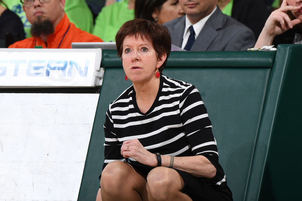 January 8, 2017: Head coach Muffet McGraw of Notre Dame in action during the NCAA basketball game between the Miami Hurricanes and the Notre Dame Fighting Irish in Coral Gables, Florida. The 'Irish defeated the 'Canes 67-55.