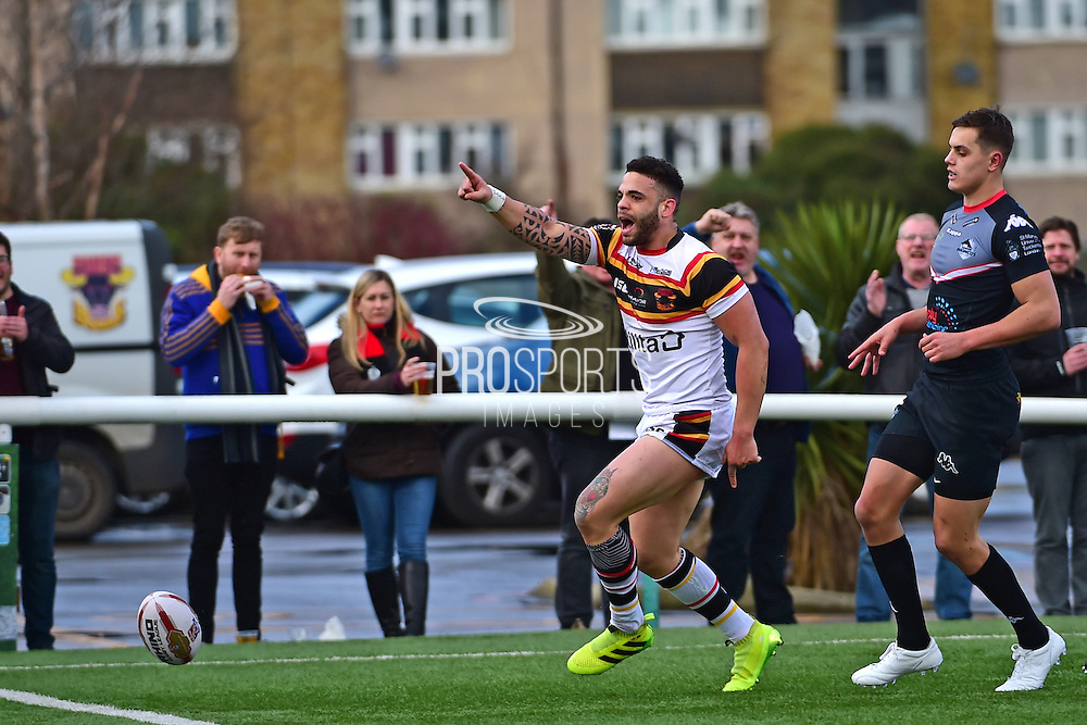 Bradford Bulls second row Kevin Larroyer (16) scores for The Bulls during the Kingstone Press Championship match between London Broncos and Bradford Bulls at Trailfinders Sports Club, Vallis Way, United Kingdom on 5 March 2017. Photo by Jon Bromley.