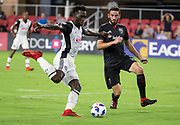 WASHINGTON, DC - AUGUST 29: Philadelphia Union forward C.J. Sapong (17) winds up for a shot as D.C. United defender Steve Birnbaum (15) moves in during a MLS match between D.C United and the Philadelphia Union on August 29, 2018, at Audi Field, in Washington, DC. <br /> The Philadelphia Union defeated DC United 2-0.<br /> (Photo by Tony Quinn/Icon Sportswire)