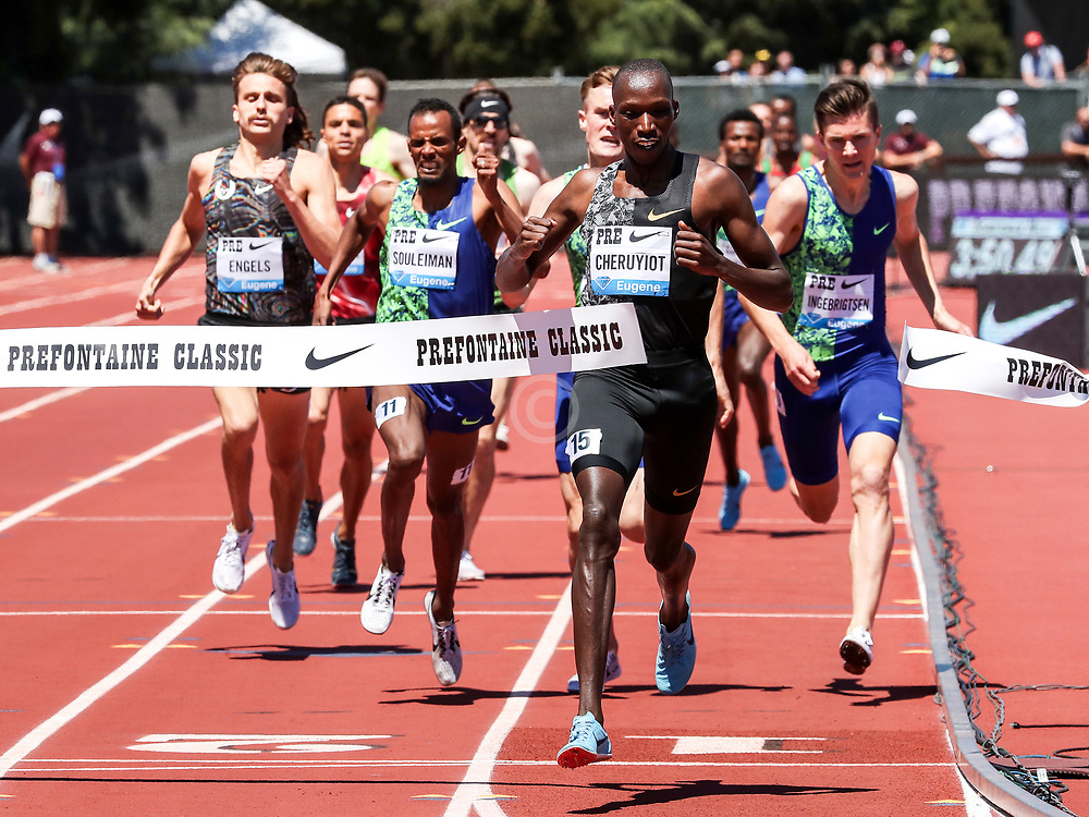 Timothy Cheruiyot of Kenya wins the mens 1500 meters at 2019 The Prefontaine Classic Track & Field<br /> IAAF Diamond League