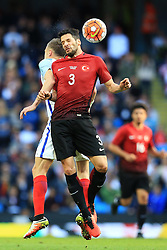 Hakan Kadir Balta of Turkey wins a header - Mandatory byline: Matt McNulty/JMP - 07966386802 - 22/05/2016 - FOOTBALL - Etihad Stadium -Manchester,England - England v Turkey - International Friendly