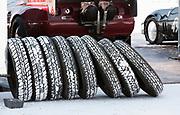 Image of racecar salty tires at Speed Week 2018 at the Bonneville Salt Flats, Utah, American Southwest
