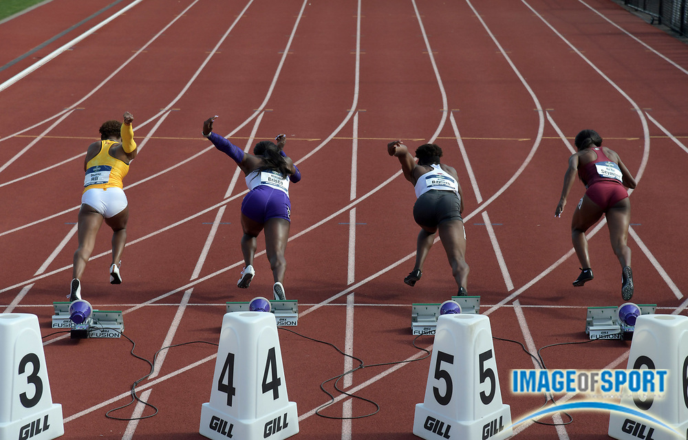 Jun 7, 2018; Eugene, OR, USA; Sprinters in the starting blocks of a  women's 100m heat during the NCAA Track and Field championships at Hayward Field. From left: Deanna Hill (Southern California), Mikiah Brisco (LSU), Jada Baylark (Arkansas) and Ka'Tia Seymour (Florida State).