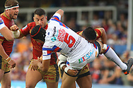 Ben Jones-Bishop of Wakefield Trinity tackled by strong Catalans Dragons defence during the Betfred Super League match at the Mobile Rocket Stadium, Wakefield<br /> Picture by Stephen Gaunt/Focus Images Ltd +447904 833202<br /> 07/07/2018