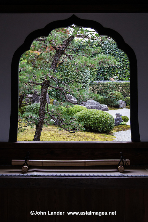 Korin-in was originally built in 1520 as a family temple.  Korin-in is only open a few weeks per year, during November. The garden represents part of China with mountains as azaleas and rhododendrons, with islands represented as rocks.  The small entrance with the window on the left of the garden is a unique feature of this temple garden.  This style of entrance with window is a classic feature of many famous zen gardens, including Kodai-ji, Ginkaku-ji and Kenin-ji but is not often found elsewhere.