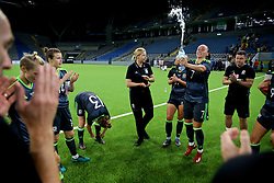 ASTANA, KAZAKHSTAN - Sunday, September 17, 2017: Wales' Natasha Harding celebrates after beating Kazakhstan 1-0 during the FIFA Women's World Cup 2019 Qualifying Round Group 1 match between Kazakhstan and Wales at the Astana Arena. (Pic by David Rawcliffe/Propaganda)