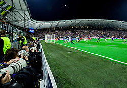 Photographers at the court during football match between NK Maribor and Sporting Lisbon (POR) in Group G of Group Stage of UEFA Champions League 2014/15, on September 17, 2014 in Stadium Ljudski vrt, Maribor, Slovenia. Photo by Vid Ponikvar  / Sportida.com