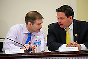 Rep. Jim Jordan (R-OH) confers with Rep. Ron DeSantis (R-FL) during a press conference called Conversations with Conservatives in the Rayburn House Office Building on Capitol Hill. (Photo For The Dispatch by Pete Marovich)