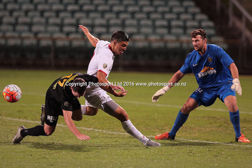 ASB Premiership Football Waitakere United v Team Wellington QBE Stadium, North Shore, Auckland Thursday 11th Feb. Waitakere's Sean Lovemore tackled in the penalty area by Fergus Neil. Wellington went on to win 4-2. Photo: David Mackay / www.photosport.nz