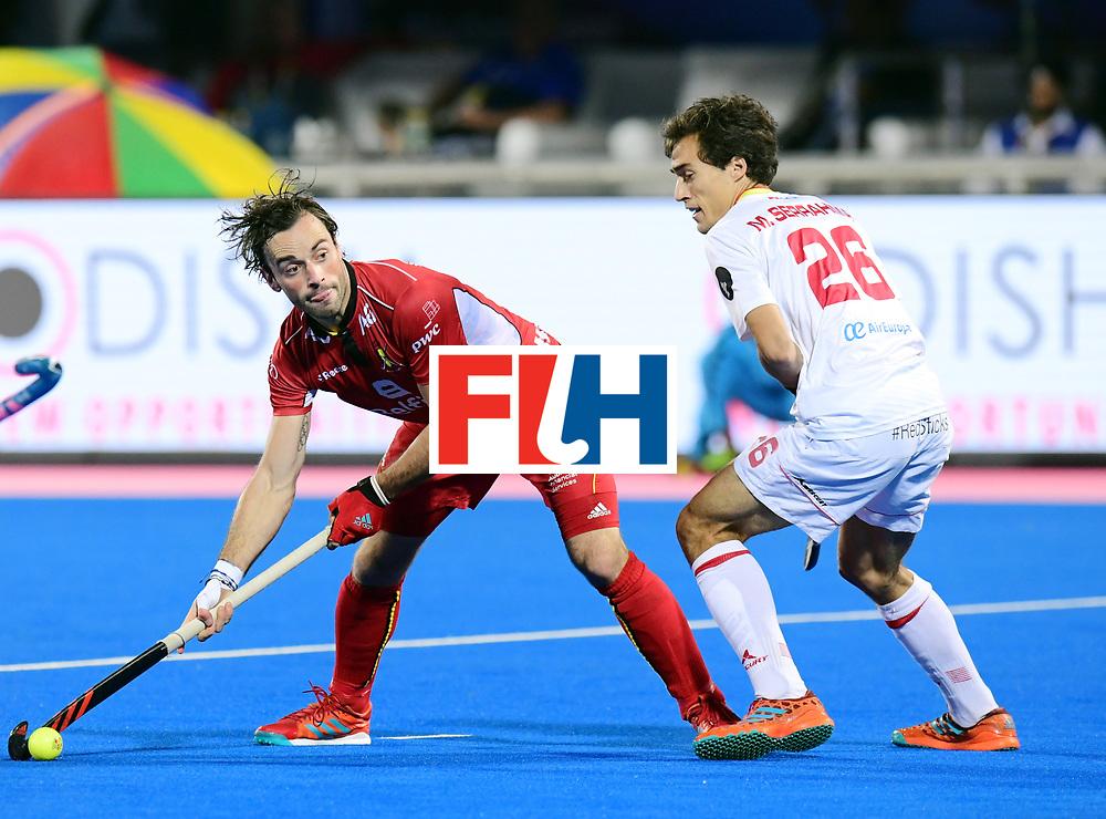 Odisha Men's Hockey World League Final Bhubaneswar 2017<br /> Match id:18<br /> Belgium v Spain<br /> Foto: Sebastien Dockier (Bel) and Marc Serrahima (Esp) <br /> COPYRIGHT WORLDSPORTPICS FRANK UIJLENBROEK