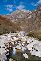 Stones and river rapids in Valle Verzasca, Ticino, Southern Switzerland.