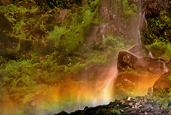 Base Rainbow at Spray Falls, Spray Creek, Mt. Rainier National Park, Washington, US