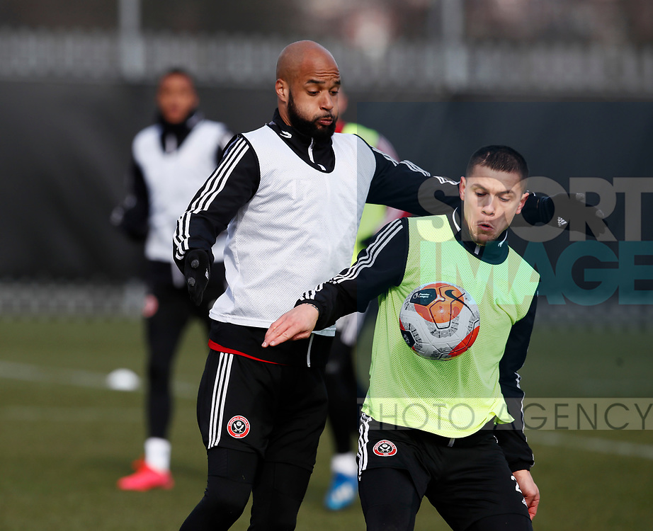 Muhamed Besic of Sheffield Utd & David McGoldrick of Sheffield Utd during a training session at the Steelphalt Academy, Sheffield. Picture date: 5th March 2020. Picture credit should read: Simon Bellis/Sportimage