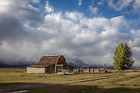 The John Moulton Barn in Grand Teton National Park on a cold Fall day.