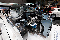 Cut away model of Peugeot 308 with new super efficient engine at Geneva Motor Show 2011 Switzerland