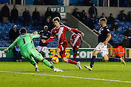 Patrick Bamford of Middlesbrough has a shot saved by David Forde of Millwall during the Sky Bet Championship match at The Den, London<br /> Picture by David Horn/Focus Images Ltd +44 7545 970036<br /> 06/12/2014