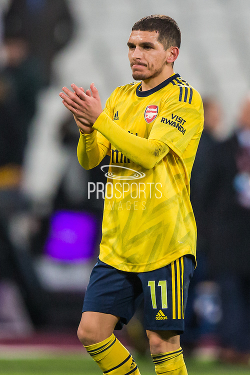 Lucas Torreira (Arsenal) thanking the Arsenal FC Supporters following the Premier League match between West Ham United and Arsenal at the London Stadium, London, England on 9 December 2019.
