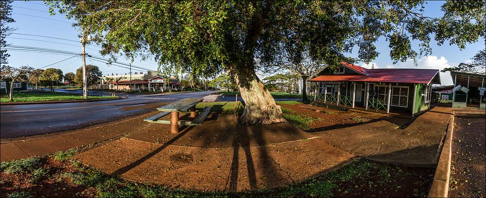 Early morning in Maunaloa Town, Molokai, Hawaii.The Maunaloa Post Office is on the right.