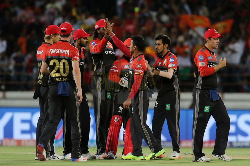 Royal Challengers Bangalore players celebrates the wicket of Aaron Finch of the Gujarat Lions during match 20 of the Vivo 2017 Indian Premier League between the Gujarat Lions and the Royal Challengers Bangalore  held at the Saurashtra Cricket Association Stadium in Rajkot, India on the 18th April 2017<br /> <br /> Photo by Vipin Pawar - Sportzpics - IPL