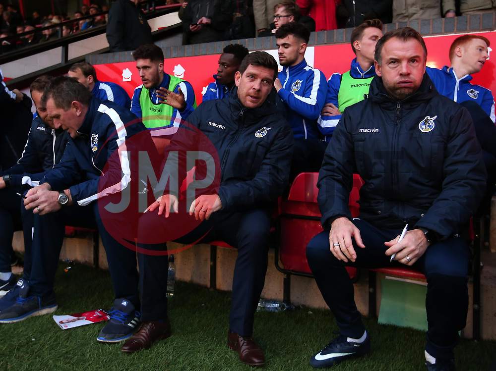 Bristol Rovers manager Darrell Clarke and Bristol Rovers assistant manager Marcus Stewart - Mandatory by-line: Robbie Stephenson/JMP - 26/12/2017 - FOOTBALL - Banks's Stadium - Walsall, England - Walsall v Bristol Rovers - Sky Bet League One