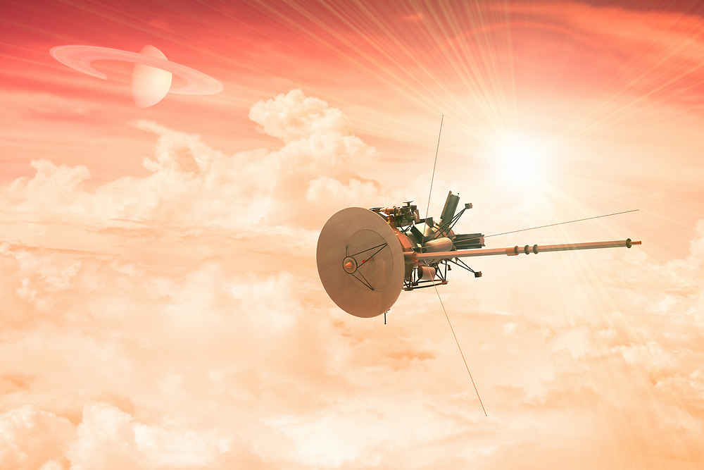 3D rendering of an unmanned spacecraft entering the atmosphere of a distant planet