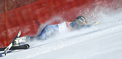 February 15, 2018 - Pyeongchang, South Korea - ALEX TILLEY of Great Britain crashes on the first run at the Womens Giant Slalom event Thursday, February 15, 2018 at the Yongpyang Alpine Centerl at the Pyeongchang Winter Olympic Games.  Photo by Mark Reis, ZUMA Press/The Gazette (Credit Image: © Mark Reis via ZUMA Wire)