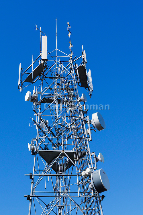 Antennas for 3 sector cellular communications mobile telephone system on a triangular lattice tower in New South Wales, Australia.