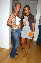 Left to right, OLIVIA BUCKINGHAM and SERENA NIKKHAH at the launch of Friday Nights at Mamilanji - Chelsea's newest and most exclusive members club, 107 Kings Road, London SW3 hosted by Charlie Gilkes and Duncan Stirling held on 29th July 2005.<br />