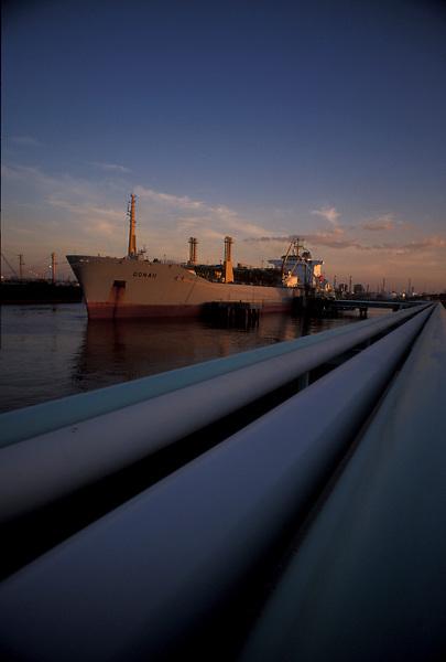 Tanker docked at sunset