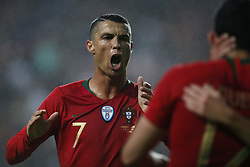 June 7, 2018 - Lisbon, Portugal - Portugal's forward Cristiano Ronaldo celebrates the first goal of Portugal's forward Goncalo Guedes during the FIFA World Cup Russia 2018 preparation match between Portugal vs Algeria in Lisbon on June 7, 2018. (Credit Image: © Carlos Palma/NurPhoto via ZUMA Press)