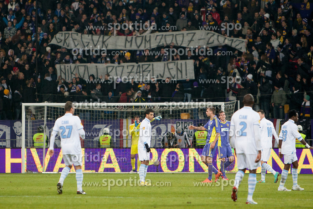Fans of Maribor during football match between NK Maribor and S. S. Lazio Roma  (ITA) in 6th Round of Group Stage of UEFA Europa league 2013, on December 6, 2012 in Stadium Ljudski vrt, Maribor, Slovenia. (photo by Urban Urbanc / Sportida.com)