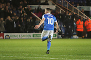 Peterborough United striker Paul Taylor (10) celebrates his goal during the EFL Sky Bet League 1 match between Peterborough United and Chesterfield at London Road, Peterborough, England on 10 December 2016. Photo by Nigel Cole.