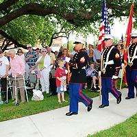 The 1st Battalion 23rd Marines march in to post the colors at the dedication ceremony for the  new Friendswood Veterans Memorial that was dedicated today.