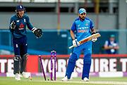 India ODI Captain & batsman Virat Kohli is bowled by England ODI bowler Adil Rashid for 71 during the 3rd Royal London ODI match between England and India at Headingley Stadium, Headingley, United Kingdom on 17 July 2018. Picture by Simon Davies.
