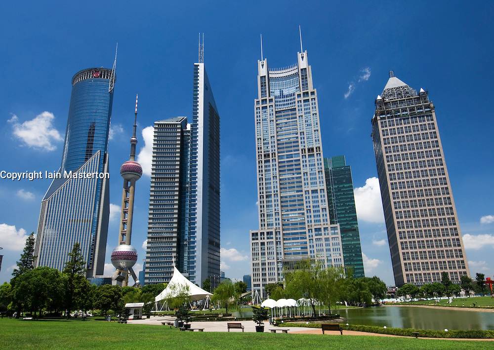 Skyscrapers in Pudong financial district of Shanghai